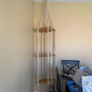 Vintage teak wood crochet 3 tiered hanging shelf